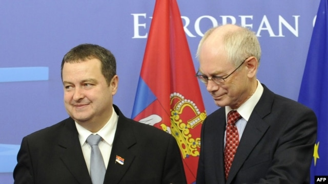 European Union President Belgian Herman Van Rompuy (right) with Serbian Prime Minister Ivica Dacic before a bilateral meeting at EU headquarters in Brussels on January 18.