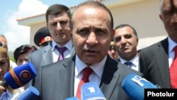 Armenia - Prime Minister Hovik Abrahamian talking to reporters in Kosh, 16May2014.