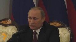 Russian president Vladimir Putin speaks about Ukraine clashes