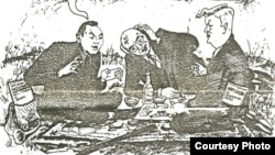 """Президенты на привале. Карикатура из независимой газеты """"С-Демократ"""" (Казахстан, 1992 год)."""