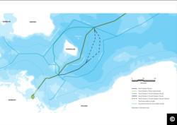 Два проєктних шляхи «Північного потоку-2» в обхід острову Борнгольм, Данія