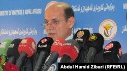 وزير شؤون الشهداء والمؤنفلين في حكومة اقليم كردستان العراق ارام احمد يتحدث في مؤتمر صحفي بأربيل
