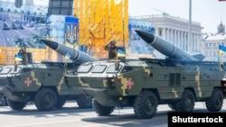 Украинские ракетные установки на Крещатике во время военного парада ко Дню Независимости Украины. Киев, 24 августа 2018 года