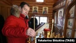 Дмитрий Медведев в храме святителя Николая Чудотворца на острове Земля Александры архипелага Земля Франца-Иосифа