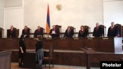 Armenia -- Constitutional Court Chairman Hrayr Tovmasian reads out a court ruling, Yerevan, March 17, 2020.