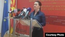 Прес-конференција на министерката за труд и социјална политика Фросина Ташевска Ременски. Фото: novatv.mk