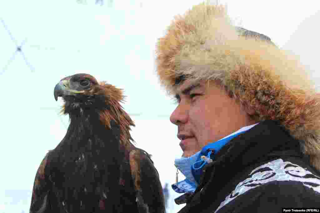 """Koshkarov has been hunting with golden eagles since he was in the sixth grade. """"My father was a student of the famous berkutchi Abdilkhak Turlybayev, and I learned everything from my father,"""" Koshkarov said. """"It's not a hobby. It's a tradition that is passed down from generation to generation. It's also a passion -- to leave early in the morning on a horse, to check on the golden eagle and how it's flying and hunting. """"Many people believe that the strongest berkutchi are in Mongolia. But I've been to Mongolia and I don't agree. I've been many places, and I think that the best hunters are in Kazakhstan. The golden eagle is the same everywhere, but the person's approach to the bird is different."""""""
