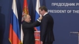 Serbia - During the one-day visit, Putin awarded Serbian President Aleksandar Vucic with a Russian state honor, the Order of Aleksandr Nevsky.