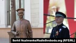 The famous police statue in Minsk and Belarusian Interior Minister Igor Shunevich