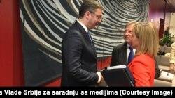 Aleksandar Vučić, Federika Mogerini i Johanes Han, Brisel, 18. jul 2016.