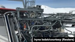 Destroyed ski-lift chairs after the incident.