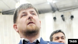 Chechen President Ramzan Kadyrov at a joint meeting of the United Russia Supreme and General councils