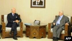 استفان دی میستورا، با ولید المعلم در دمشق دیدار کرد (عکس آرشیو).