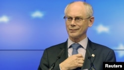 European Council President Herman Van Rompuy holds a news conference after the informal EU leaders summit in Brussels on May 23-24.