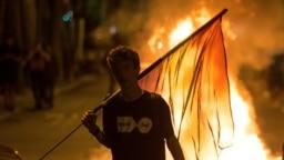 Уличная акция каталонских сепаратистов в Барселоне.