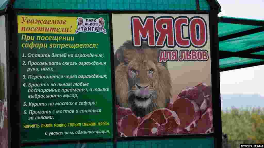 Предупреждение для посетителей — правила безопасности и кормления львов.
