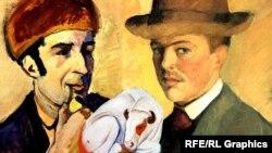 Портрет Франца Марка, сделанный Августом Маке (слева), и автопортрет Августа Маке (справа), коллаж