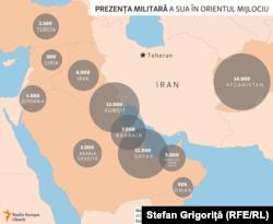 Prezența militară americană în Orientul MIjlociu, 4 ianuarie 2020