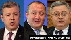 (Left to right:) Georgian Prime Minister Giorgi Kvirikashvili, President Giorgi Margvelashvili, and Parliamentary Speaker Davit Usupashvili appear to have thrashed out a compromise on proposed changes to the Constitutional Court.