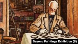 """""""Борис Денев рисува на масата вкъщи"""", 60-те години. Картината е на Славка Денева."""