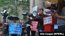 Protestul socialiştilor împotriva primarului Dorin Chirtoacă