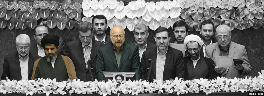 محمدباقر قالیباف و ناصر موسوی لارگانی در مراسم سوگند هیئت رئیسه مجلس