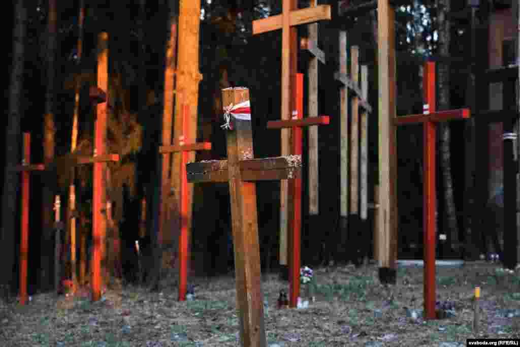 У Курапатах зранку 4 красавіказьнесьлі70 крыжоў і пачалі ўсталёўваць плот.