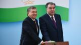 Özbegistanyň prezidenti Şawkat Miziýoýew (çepde) we täjik prezidenti Emomali Rahmon.