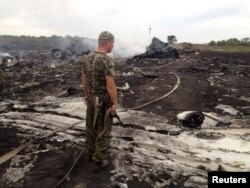 Донецкий сепаратист на месте крушения Боинга