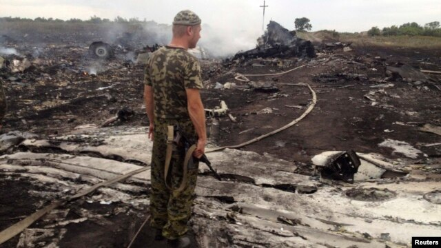An armed pro-Russian separatist stands at the site of the Malaysia Airlines Boeing 777 plane crash in Ukraine's eastern Donetsk region on July 17.