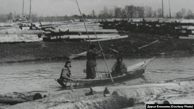 Сплав леса. Томская область. 1950-е годы