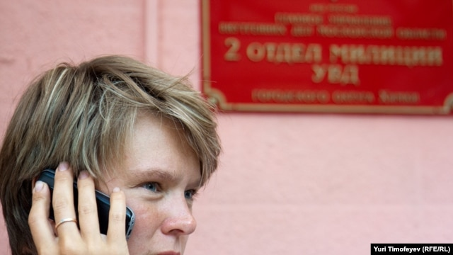 """It was totally obvious that it was simply a backroom deal,"" says Yevgenia Chirikova, shown here outside the Khimki police station after being detained on July 23."