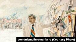 Vizită de lucru; autori: Ion Vinţan, Vladimir Setran; oferit de Comitetul municipal de partid București; anii 1980. Sursa comunismulinromania.ro (MNIR)