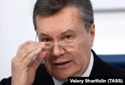 Виктор Янукович на пресс-конференции в Москве, 2 марта 2018 года