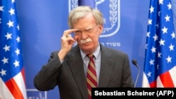 U.S national-security adviser John Bolton gives a press conference with the Israeli prime minister at the latter's office in Jerusalem on August 20.
