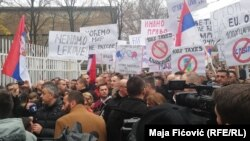 In North Mitrovica, locals protest the tax imposed by the government on the import of goods from Serbia on November 27.