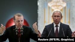 Președintele Tayyp Erdoğan (stînga) se întîlnește cu omologuil său rus Vladimir Putin în 9 august la St. Petersburg pentru a discuta criza din Siria și cooperarea energetică și de afaceri între Turcia și Rusia.