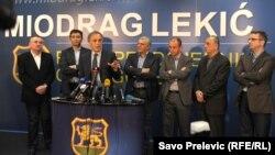 Miodrag Lekić sa kolegama iz Demokratskog fronta u izbornom štabu nakon predsedničkih izbora u Crnoj Gori, ilustrativna fotografija