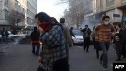 نمایی از اعتراض های روز ۲۵ بهمن در تهران