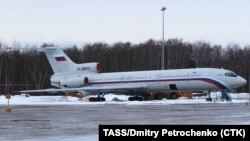 تصویری از یک هواپیمای توپولف ۱۵۴ روسی که به تی.یو ۱۵۴ مشهور است
