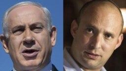 نفتالی بنت (راست) نخستوزیر جدید اسرائیل و بنیامین نتانیاهو که از شامگاه یکشنبه در جایگاه رهبر اپوزیسیون نشست.