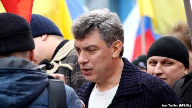 Борис Немцов на антивоенном марше в Москве, 15 марта 2014 года