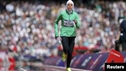 Саудиялық спортшы қыз Сара Аттар Лондон олимпиадасында. Ұлыбритания, 8 тамыз 2012 жыл. (Көрнекі сурет)