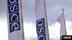 Austria -- OSCE flags outside OSCE headquarters,Vienna
