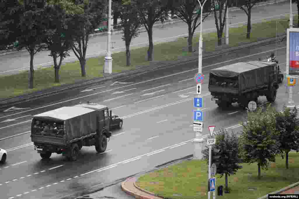 On the morning of the protest on August 23, several military transporters were spotted bringing army personnel into Minsk