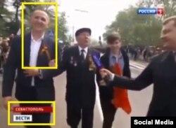 Кадр из программы российского телеканала, на котором виден глава винницкой полиции Антон Шевцов на параде в Севастополе