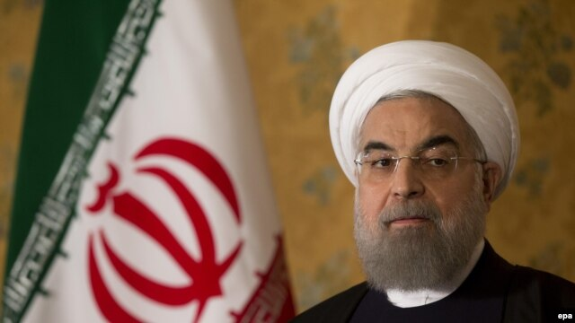 Iranian President Hassan Rohani attends a press conference in Rome on January 27.