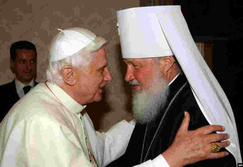Pope Benedict (left) greets Russian Metropolitan Kirill during their meeting in the Vatican in May 2006.