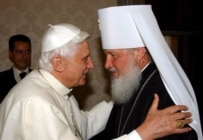 Russian Orthodox Metropolitan Kiril (right) met with Pope Benedict at the Vativan in May (epa)