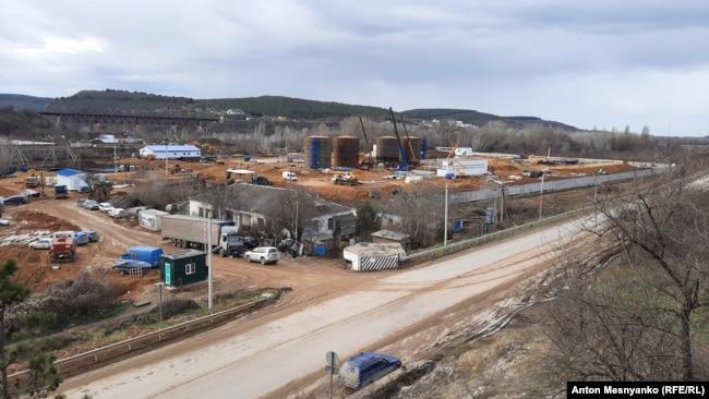 Строительство водозабора на реке Бельбек. Январь 2021 года